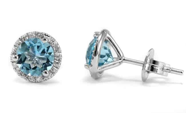Blue Topaz & Diamond Halo Stud Earrings