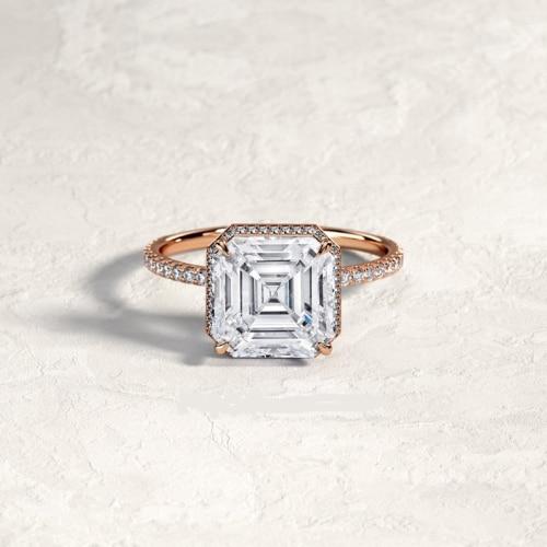Double-Edge Halo Asscher Cut Engagement Ring