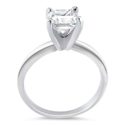 Asscher Cut Cubic Zirconia Engagement Ring