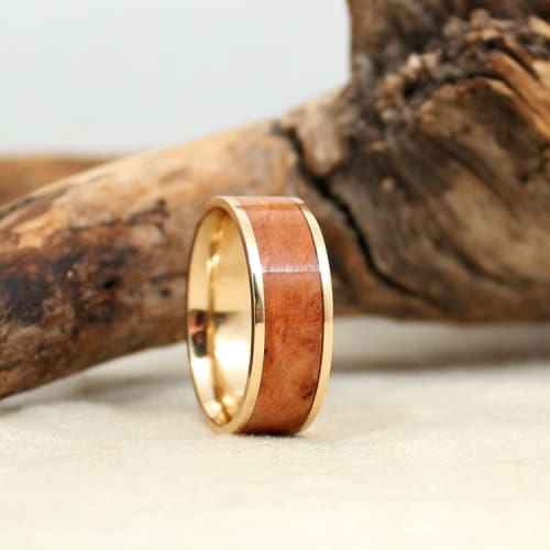 California Redwood Burl Gold Band