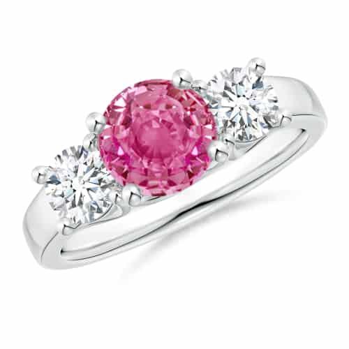 Classic Round Pink Sapphire and Diamond Three Stone Ring