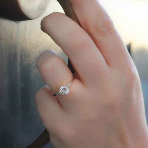 Classic White Sapphire With Sterling Silver Setting Ring