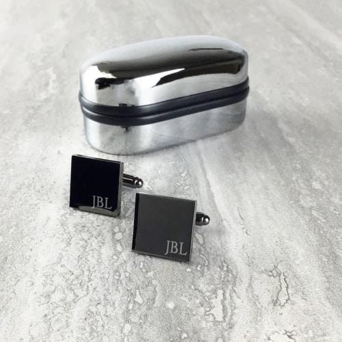 Grey monogrammed cufflinks