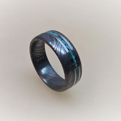 Damascus Wedding Band With Titanium And Turquoise Inlay