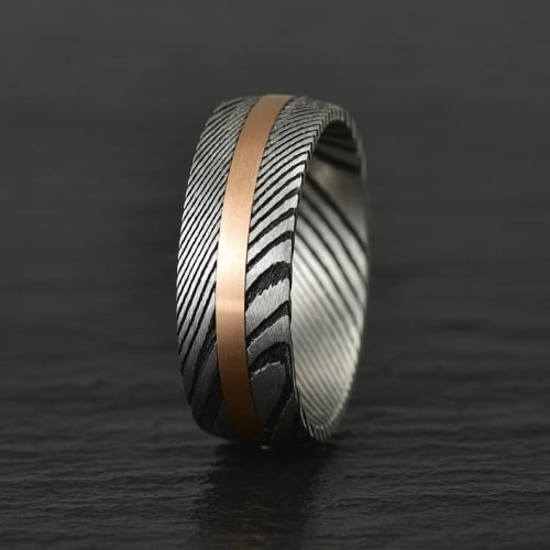 Damascus Twist Steel Rose Tungsten Band