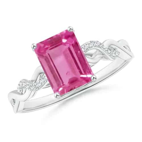 Emerald-Cut Pink Sapphire Infinity Twist Ring