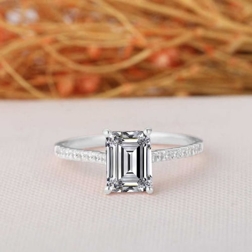 1.25ct Emerald Cut White Sapphire Ring
