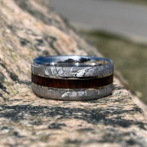 Gibeon Meteorite and Arizona Ironwood Wedding Band
