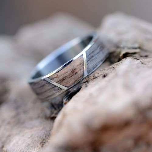 Wood With Titanium Partition wedding band