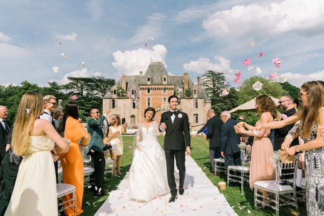 Glamorous Outdoor Wedding in French Chateau Featured