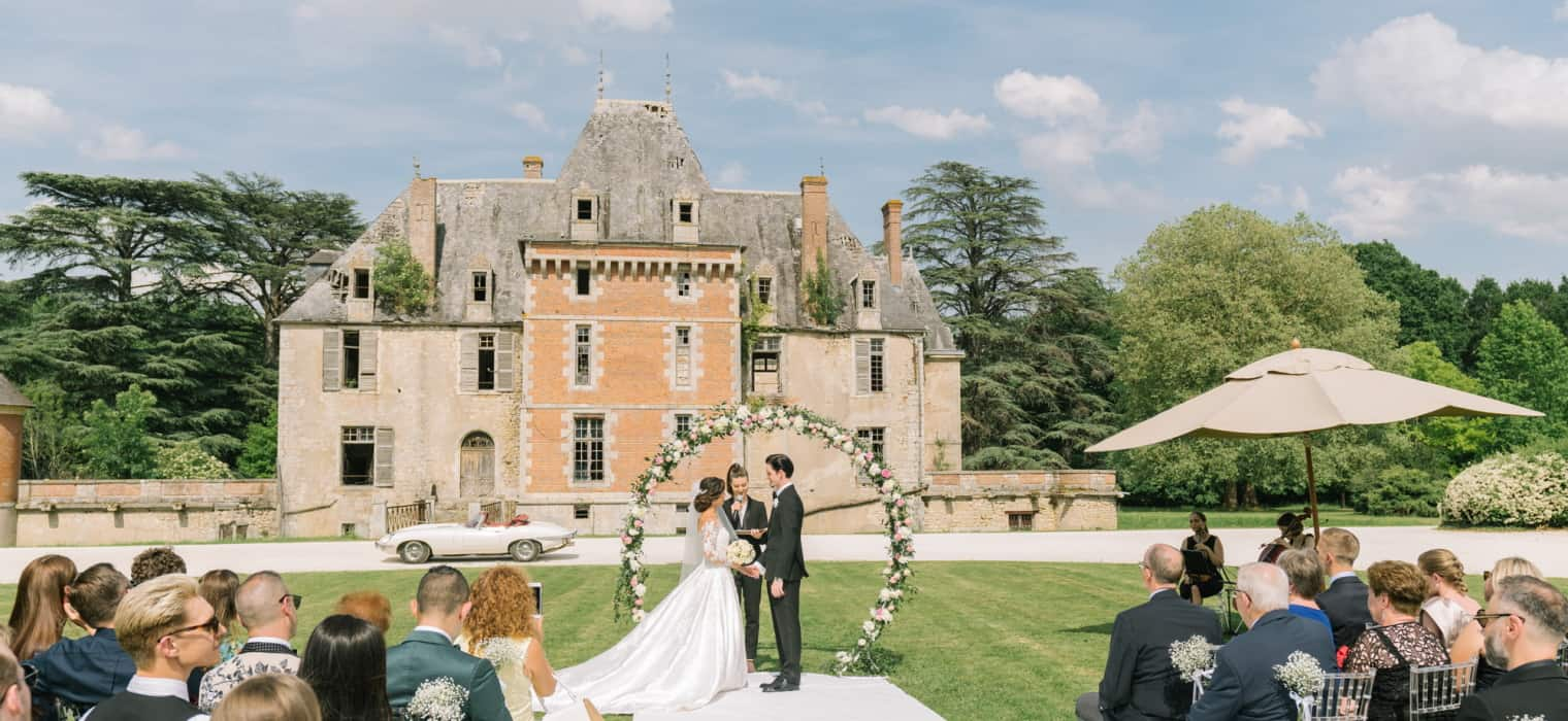 Glamorous Outdoor Wedding in French Chateau Hero