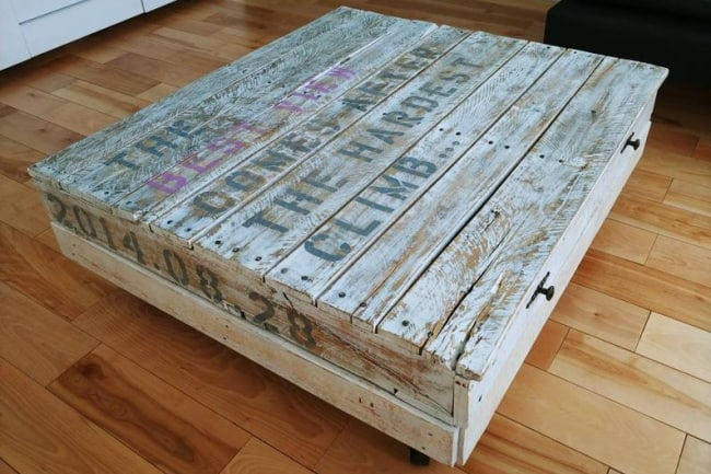 Personalized Industrial Wood Coffee Table