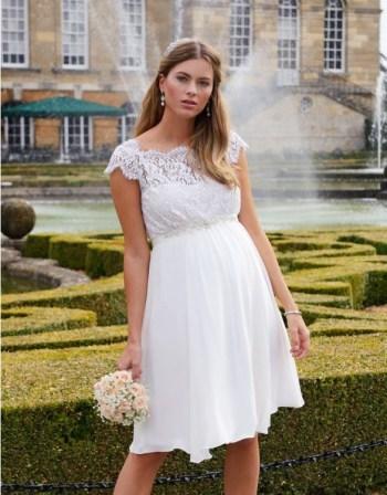 Ivory Silk & Eyelash Lace Maternity Dress