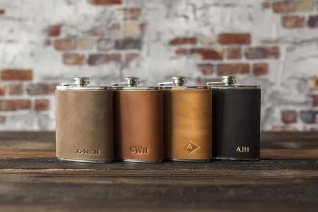 Leather Hip Flask Personalized