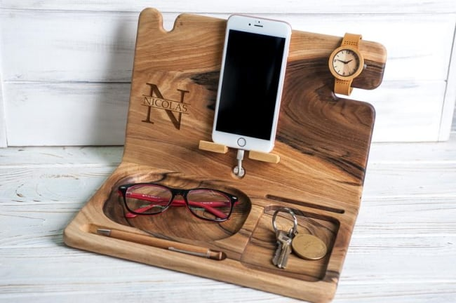 personalized wood valet dock station