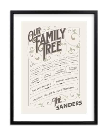 Vintage Framed Family Tree Wall Art