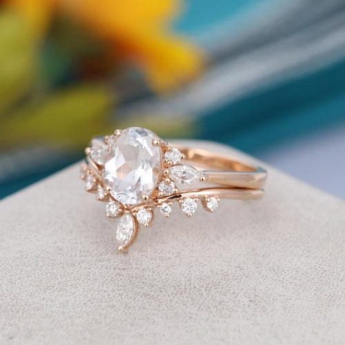 Oval Cut White Sapphire Vintage Wedding Ring
