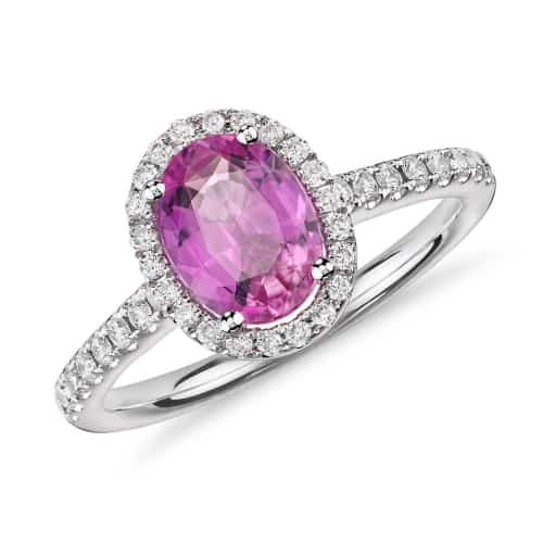 Pink Sapphire and Micropavé Diamond Halo Ring