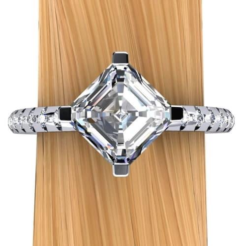 Melee Setting Platinum Asscher Diamond Engagement Ring