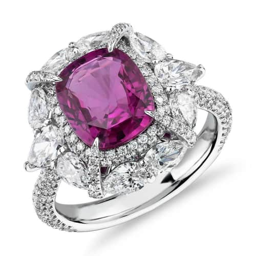 Radiant-Cut Pink Sapphire Ring With Pear Shaped Diamond Halo