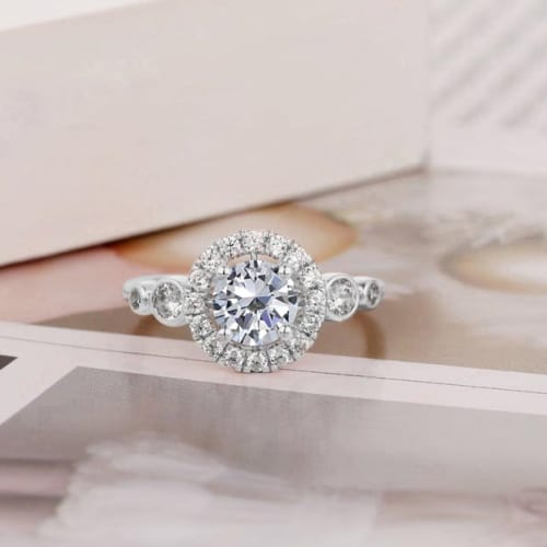 Carat Round Cut Halo White Sapphire Ring