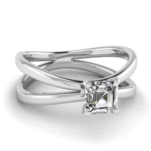 Asscher Cut Solitaire Diamond Engagement Ring with Split Band