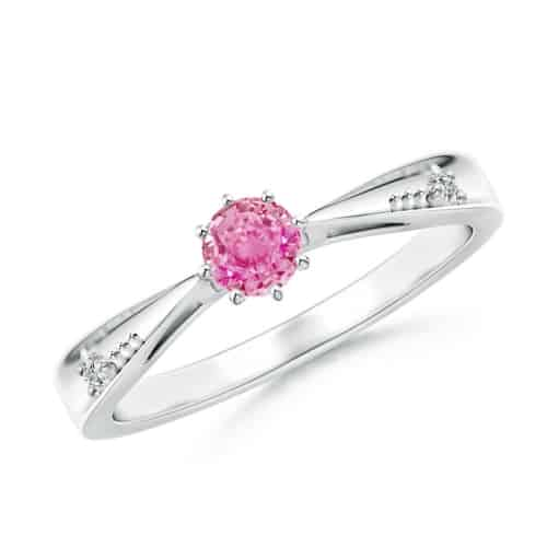 Tapered Shank Pink Sapphire Solitaire Ring