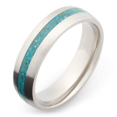 Titanium wedding band With Turquoise Inlay
