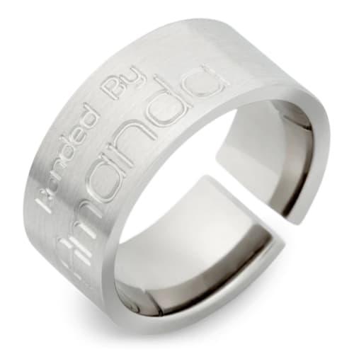 Handcrafted, Engraved Titanium wedding band
