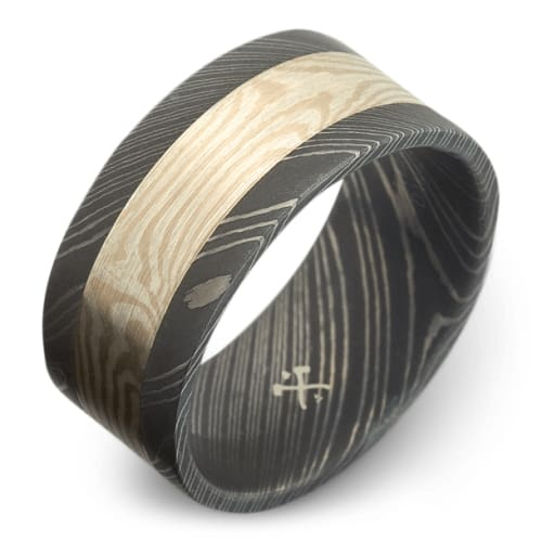Damascus Steel Band with Silver and Palladium Mokume Inlay