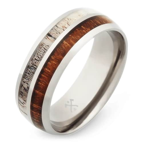 Titanium and Wood Wedding Band