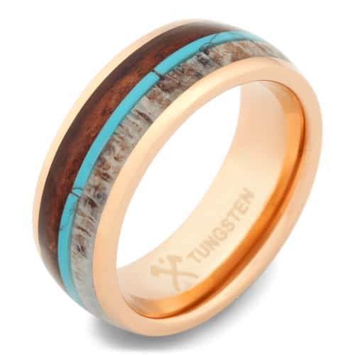 Turquoise, Deer Antler and Koa Wood Band