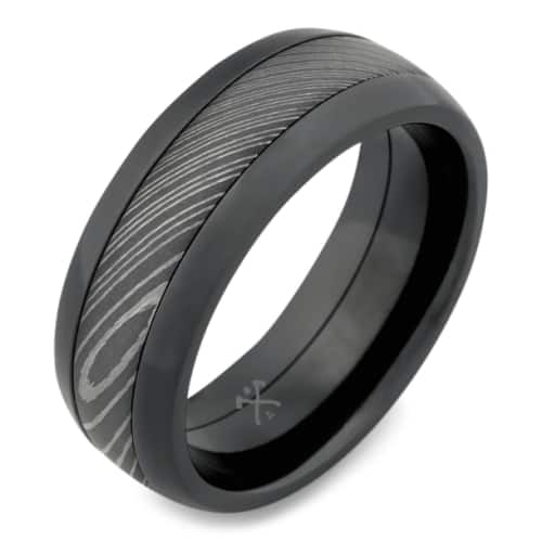 Damascus Steel & Black Zirconium Band