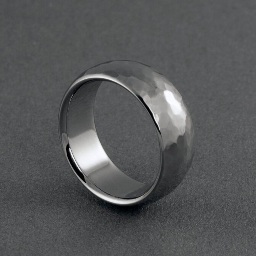 Titanium hand hammered ring in a domed profile