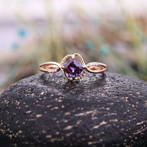Asscher Cut Alexandrite Ring With Rose Gold Band
