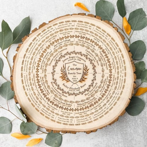 Personalized Wood Carved Family Tree