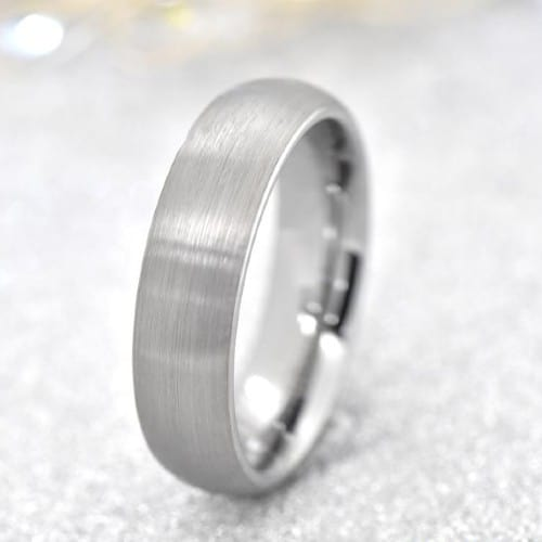 6mm Silver Tungsten Comfort-Fit, Classic Dome, Men's Wedding Band