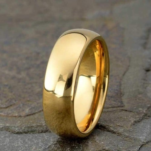 Tungsten Wedding Band in Yellow Gold (7mm)