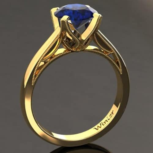Blue Sapphire Engagement Ring 1.50 Carat Blue Sapphire Ring In 14k or 18k Yellow Gold