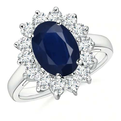 Princess Diana-Inspired Blue Sapphire Ring With Diamond Halo