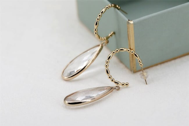 Crystal Drop Hoop Bamboo Earrings