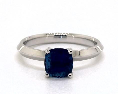 Blue Sapphire Cushion Cut Solitaire Ring