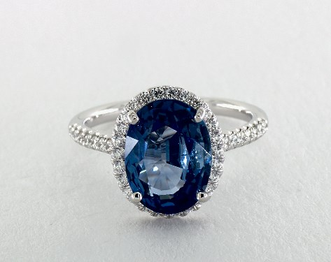 Blue Sapphire Oval Cut Halo Engagement Ring
