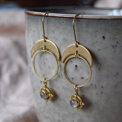 Brass & Moonstone Crescent Moon Earrings