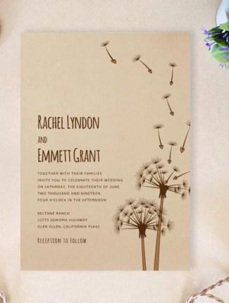 rustic dandelion wedding invite