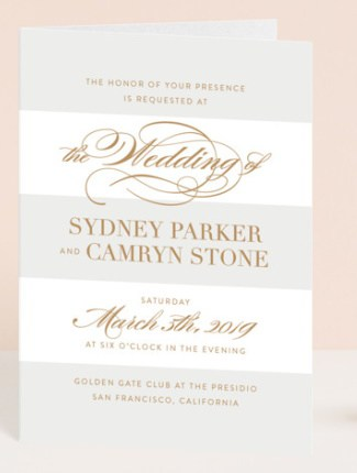 fashion district striped wedding invite