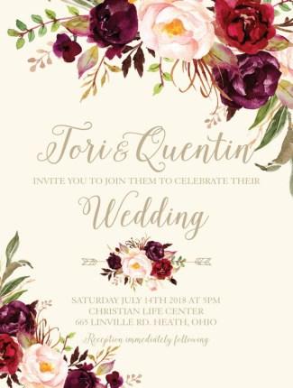 marsala flowers wedding invite
