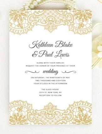 gold lace wedding invite