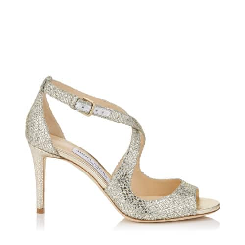 Emily 85 - Champagne Glitter Fabric Sandals