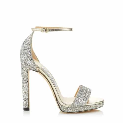 Misty 120 - Champagne Coarse Glitter Fabric Platform Sandals